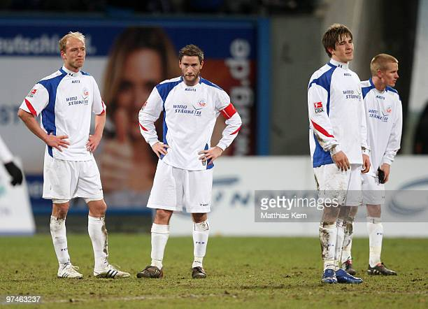Tim Sebastian Martin Retov Kevin Pannewitz and Andreas Dahlen of Rostock show their frustration after loosing the Second Bundesliga match between FC...