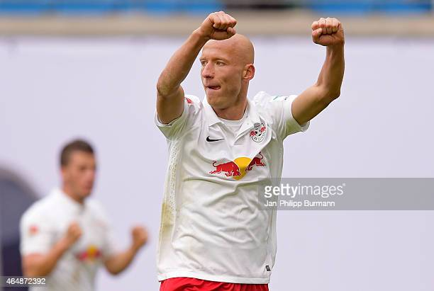 Tim Sebastian of RB Leipzig celebrates the home victory during the game between RB Leipzig and 1 FC Union Berlin on March 1, 2015 in Leipzig, Germany.