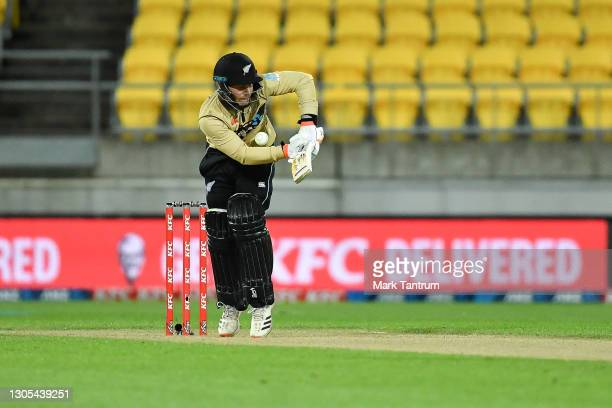 Tim Seifert of Black Caps faces during game four of the International T20 series between New Zealand Blackcaps and Australia at Sky Stadium on March...