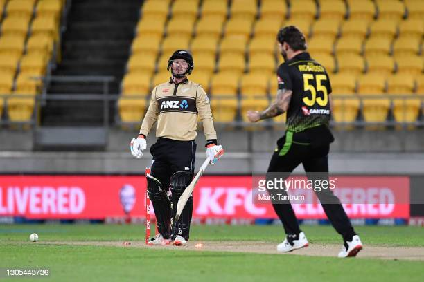 Tim Seifert of Black Caps is bowled by Kane Richardson of Australia during game four of the International T20 series between New Zealand Blackcaps...