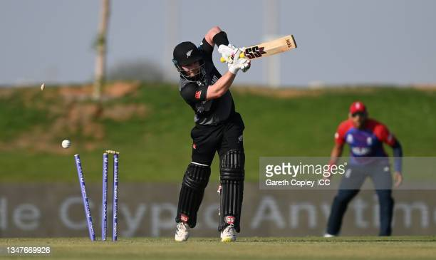Tim Seifert of New Zealand is bowled by Mark Wood of England during the England and New Zealand warm Up Match prior to the ICC Men's T20 World Cup at...