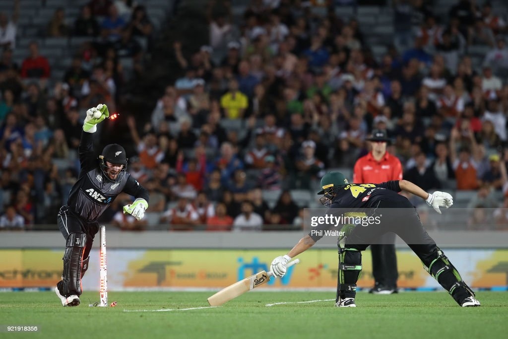 Tim Seifert of New Zealand stumps Ashton Agar of Australia during the International Twenty20 Tri Series Final match between New Zealand and Australia at Eden Park on February 21, 2018 in Auckland, New Zealand.