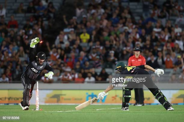 Tim Seifert of New Zealand stumps Ashton Agar of Australia during the International Twenty20 Tri Series Final match between New Zealand and Australia...