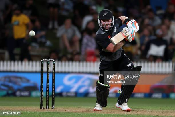 Tim Seifert of New Zealand takes a shot during game two of the International T20 series between New Zealand and Pakistan at Seddon Park on December...