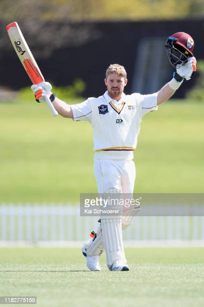 Tim Seifert of Northern Districts celebrates his century during the Plunket Shield match between Canterbury and Northern Districts at Hagley Oval on...