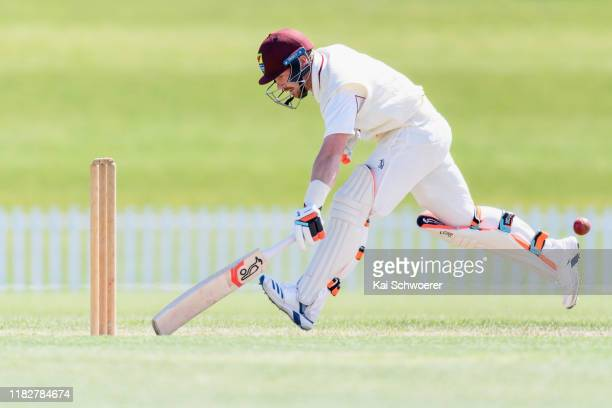 Tim Seifert of Northern Districts dives to save his wicket during the Plunket Shield match between Canterbury and Northern Districts at Hagley Oval...