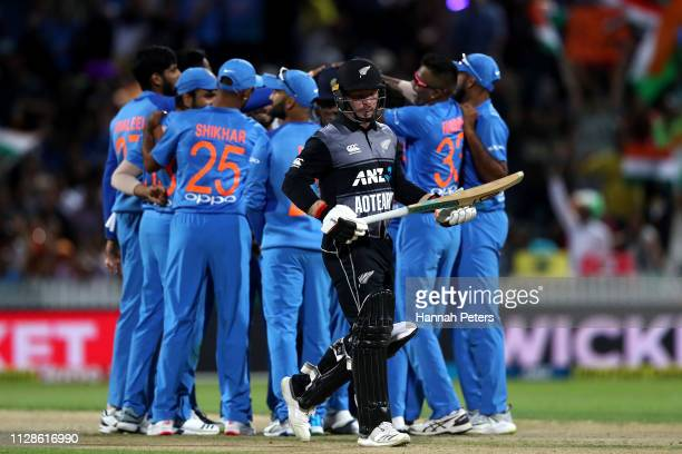 Tim Seifert of the Black Caps walks off after being dismissed during the International T20 Game 3 between India and New Zealand at Seddon Park on...