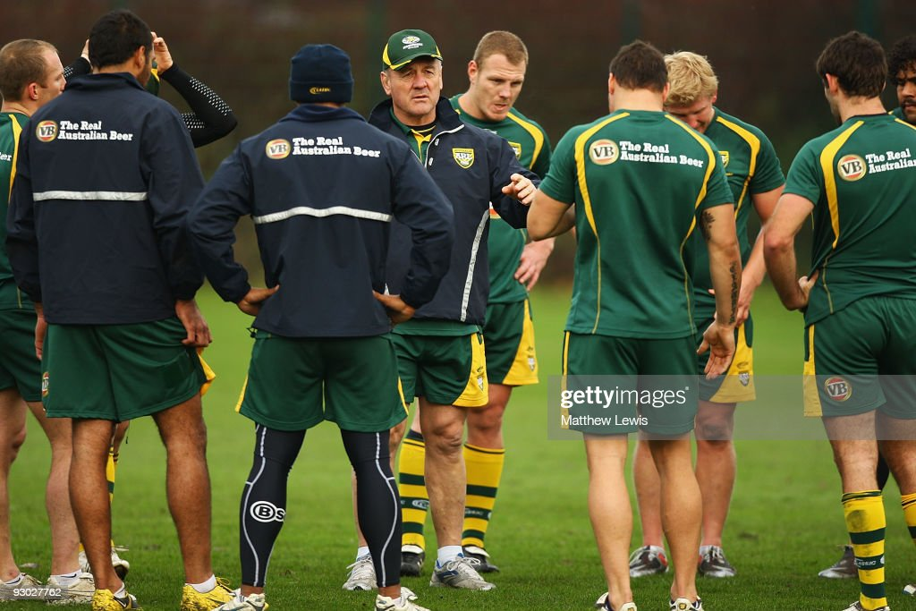 Tim Sheens, Coach of the VB Kangaroos Australian Rugby League Team speaks to his team during a training session at Leeds Rugby Academy on November 13, 2009 in Leeds, England.
