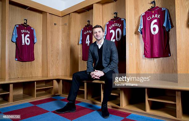 Tim Sherwood is unveiled as the new manager of Aston Villa at Villa Park on February 16, 2015 in Birmingham, England.