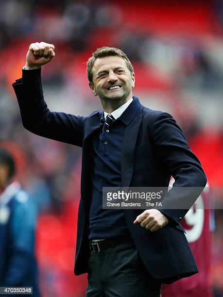 Tim Sherwood Manager of Aston Villa celebrates after the FA Cup Semi-Final match between Aston Villa and Liverpool at Wembley Stadium on April 19,...