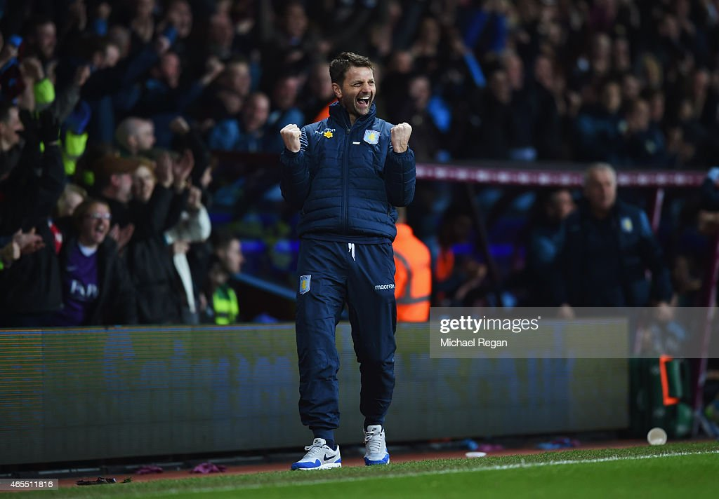 Tim Sherwood manager of Aston Villa celebrates as Scott Sinclair of Aston Villa scores their second goal during the FA Cup Quarter Final match between Aston Villa and West Bromwich Albion at Villa Park on March 7, 2015 in Birmingham, England.
