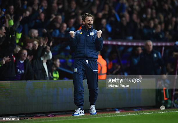 Tim Sherwood manager of Aston Villa celebrates as Scott Sinclair of Aston Villa scores their second goal during the FA Cup Quarter Final match...