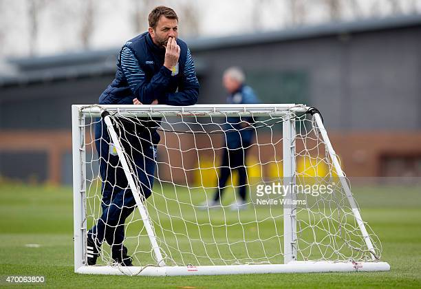 Tim Sherwood manager of Aston Villa in action during a Aston Villa training session at the club's training ground at Bodymoor Heath on April 17, 2015...