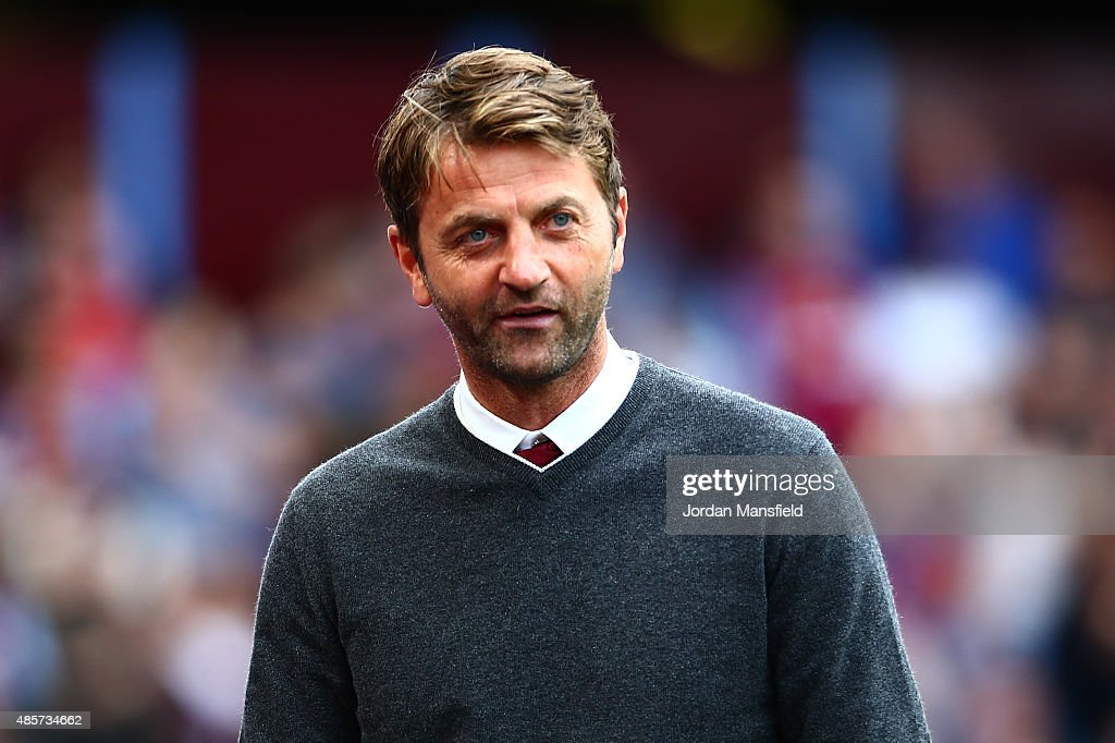 Tim Sherwood Manager of Aston Villa looks on during the Barclays Premier League match between Aston Villa and Sunderland at Villa Park on August 29, 2015 in Birmingham, England.