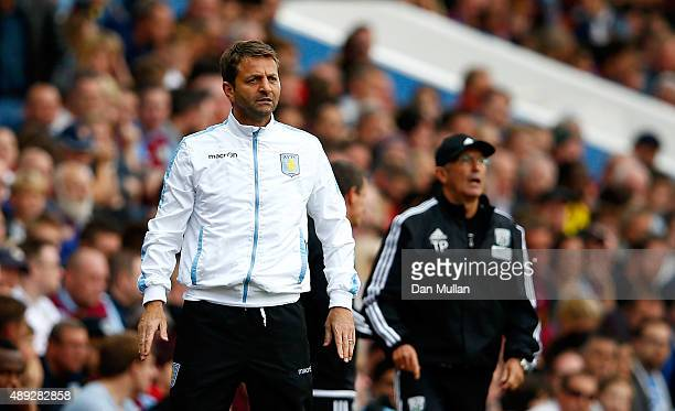 Tim Sherwood Manager of Aston Villa looks on during the Barclays Premier League match between Aston Villa and West Bromwich Albion at Villa Park on...