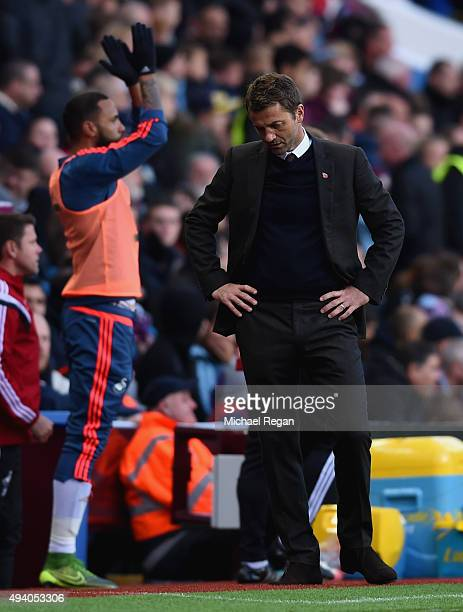 Tim Sherwood Manager of Aston Villa reacts after Swansea City's second goal during the Barclays Premier League match between Aston Villa and Swansea...