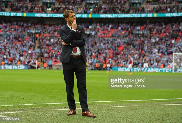 Tim Sherwood manager of Aston Villa shows his dejection on the touchline after his team conceded a fourth goal, which was scored by Olivier Giroud of...
