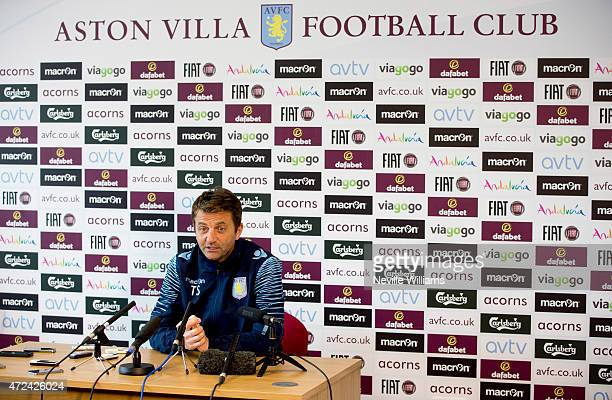 Tim Sherwood, manager of Aston Villa talks to the media during a press conference at the club's training ground at Bodymoor Heath on May 07, 2015 in...