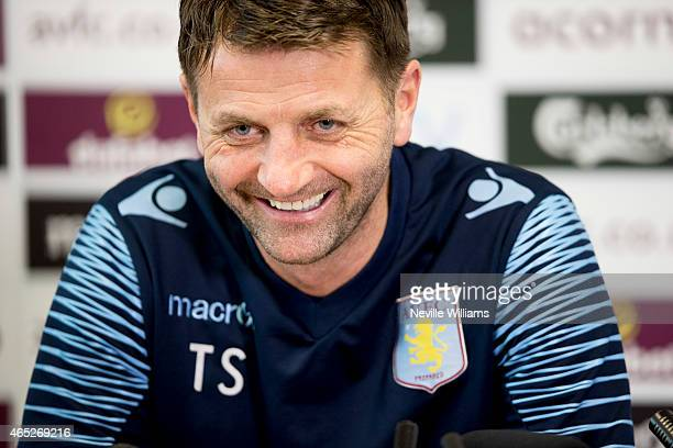 Tim Sherwood manager of Aston Villa talks to the press during a press conference at the club's training ground at Bodymoor Heath on March 05, 2015 in...