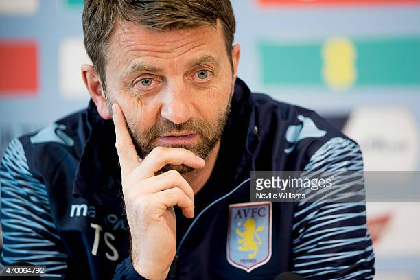 Tim Sherwood manager of Aston Villa talks to the press during a press conference at the club's training ground at Bodymoor Heath on April 17, 2015 in...