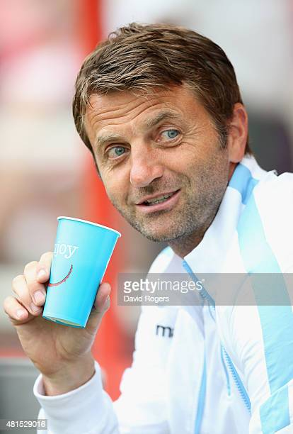 Tim Sherwood the Aston Villa manager looks on during the pre season friendly match between Swindon Town and Aston Villa at the County Ground on July...
