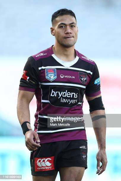 Tim Simona of the Sea Eagles gestures during the round 17 Canterbury Cup NSW match between the South Sydney Rabbitohs and the Blacktown Workers Sea...