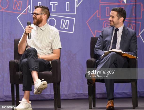 Tim Simons and Ari Melber at the 'Meet Veep' panel during Politicon at Pasadena Convention Center on July 30 2017 in Pasadena California