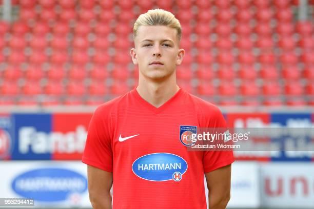 Tim Skarke of 1 FC Heidenheim poses during the team presentation at VoithArena on July 6 2018 in Heidenheim Germany