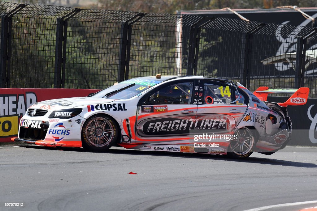 Tim Slade driver of the #14 Freightliner Racing Holden Commodore VF crashes during practice ahead of this weekend's Bathurst 1000, which is part of the Supercars Championship at Mount Panorama on October 5, 2017 in Bathurst, Australia.