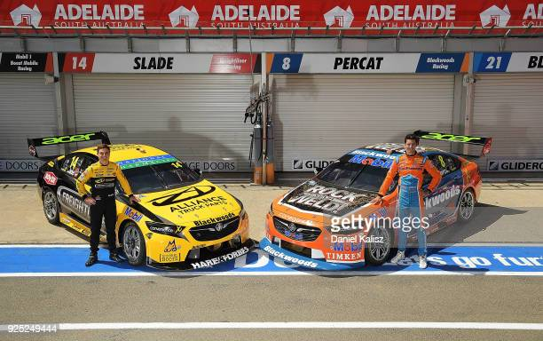 Tim Slade driver of the Freightliner Racing Holden Commodore ZB and Nick Percat driver of the Brad Jones Racing Commodore ZB pose for a photo ahead...