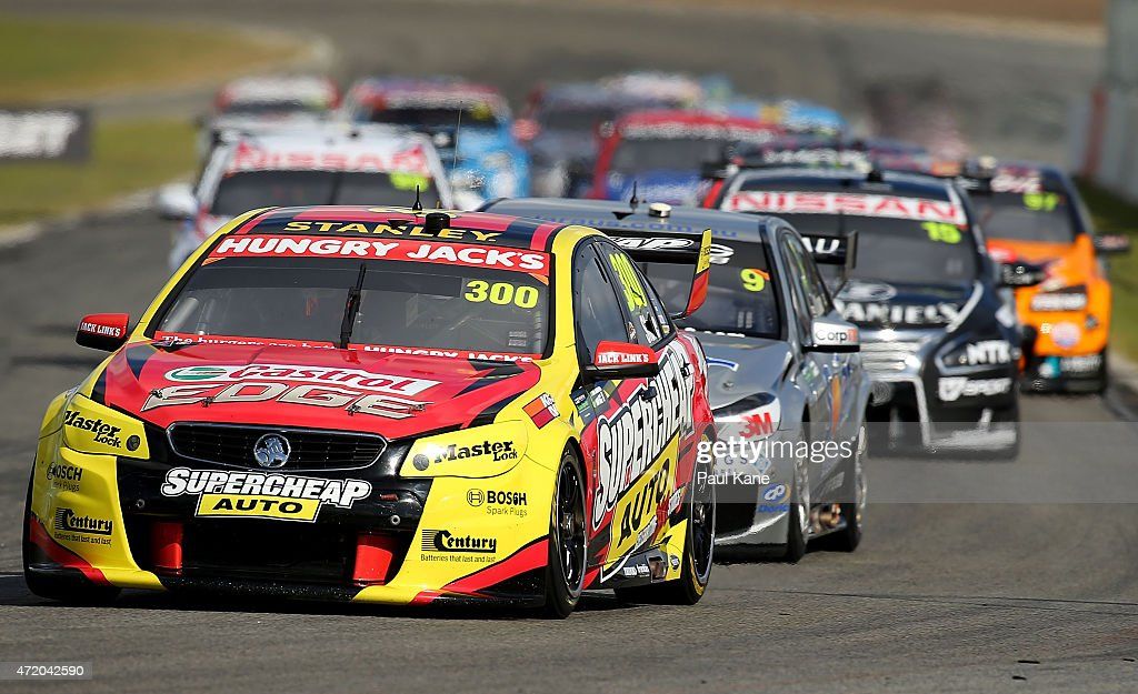 Tim Slade drives the #300 Supercheap Auto Racing Commodore VF in race 9 during the V8 Supercars - Perth Supersprint at Barbagallo Raceway on May 3, 2015 in Perth, Australia.