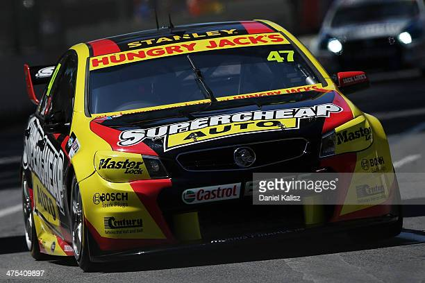 Tim Slade drives the Supercheap Auto Racing Holden during practice for the Clipsal 500 which is round one of the V8 Supercar Championship Series at...