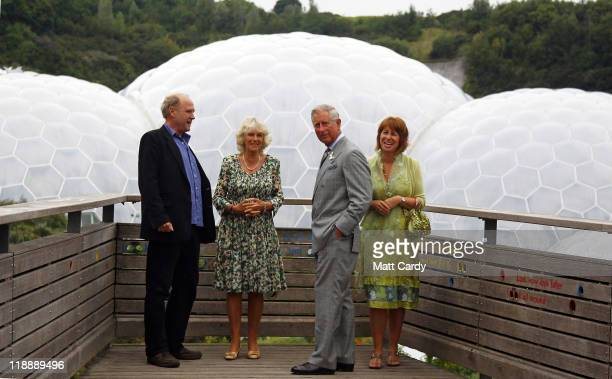 Tim Smit Chief Executive and cofounder of the Eden Project and Gaynor Coley Managing Director share a joke with Prince Charles Prince of Wales and...