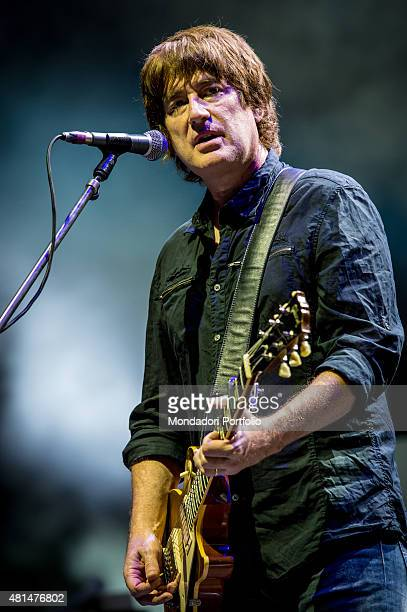 Tim Smith guitarrist of the band Noel Gallagher's High Flying Birds live in concert Chasing Yesterday Tour Assago Summer Arena Milan 6th July 2015