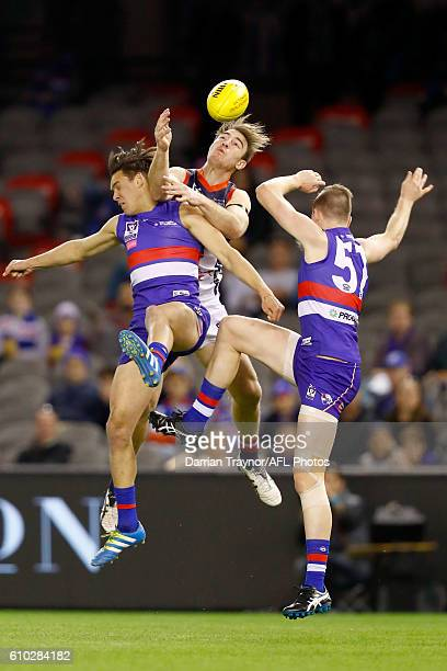 Tim Smith of Casey attempts to mark the ball during the VFL Grand Final match between the Casey Scorpions and the Footscray Bulldogs at Etihad...