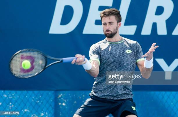 Tim Smyczek defeats Vasek Pospisil during the Qualifying Round of the ATP Delray Beach Open on February 19, 2017 in Delray Beach, Florida.