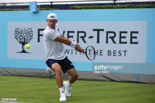 Tim Smyczek of USA hits a backhand during his match against Thanasi Kokkinakis of Australia during qualifying Day 2 of the Fever-Tree Championships...