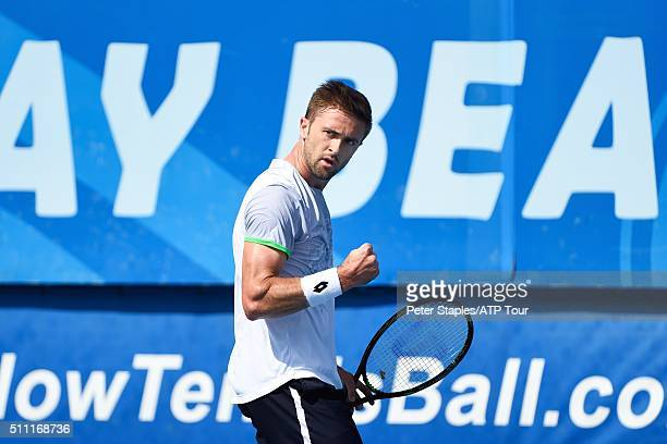 Tim Smyczek of USA in action defeating Donald Young of USA at the Delray Beach Open at Delray Beach Stadium & Tennis Center on February 18, 2016 in...