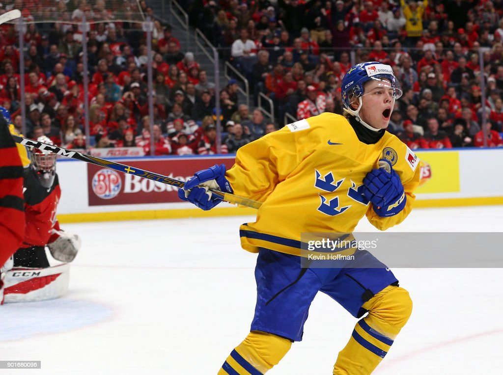 Tim Soderlund #9 of Sweden celebrates after scoring a short handed goal against Canada in the second period during the Gold medal game of the IIHF World Junior Championship at KeyBank Center on January 5, 2018 in Buffalo, New York.