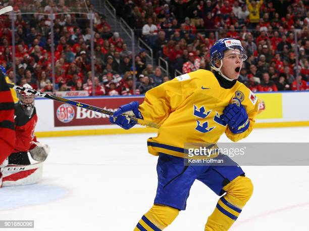 Tim Soderlund of Sweden celebrates after scoring a short handed goal against Canada in the second period during the Gold medal game of the IIHF World...