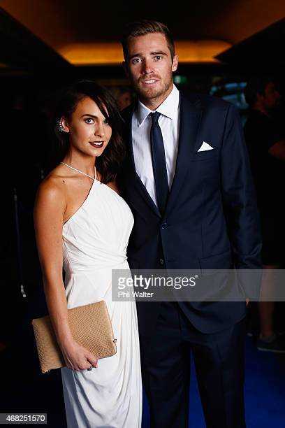 Tim Southee and Brya Fahy arrive for the New Zealand Cricket Awards at the Langham Hotel on April 1 2015 in Auckland New Zealand