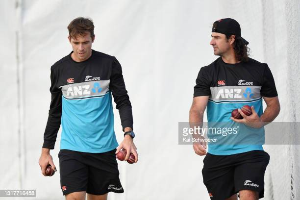 Tim Southee and Colin de Grandhomme look on during a New Zealand Blackcaps training session at the New Zealand Cricket High Performance Centre on May...