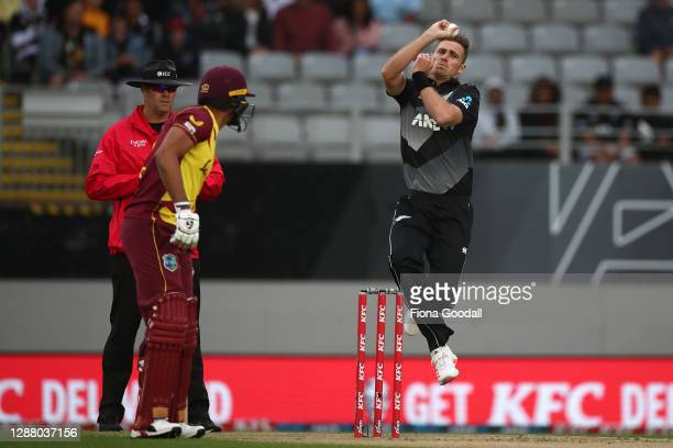 Tim Southee, captain of New Zealand bowls during game one of the International T20 series between New Zealand and the West Indies at Eden Park on...
