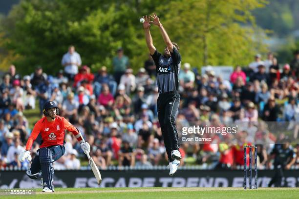 Tim Southee grabs the high ball during game three of the Twenty20 International series between New Zealand and England at Saxton Field on November...