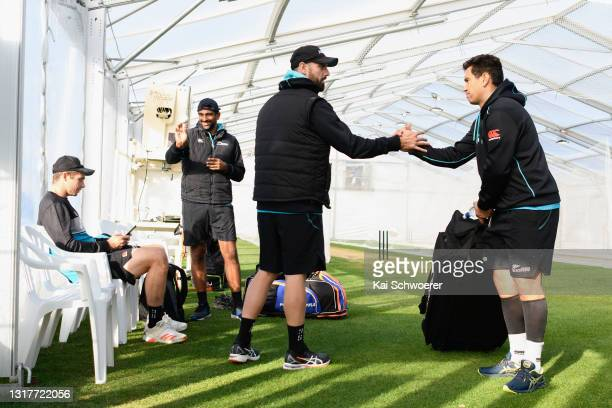 Tim Southee, Ish Sodhi, Daryl Mitchell and Ross Taylor look on during a New Zealand Blackcaps training session at the New Zealand Cricket High...