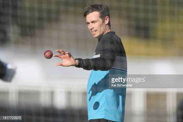Tim Southee looks on during a New Zealand Blackcaps training session at the New Zealand Cricket High Performance Centre on May 13, 2021 in Lincoln,...
