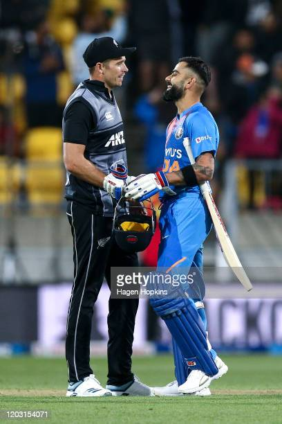Tim Southee of New Zealand and Virat Kohli of India shake hands after game four of the Twenty20 series between New Zealand and India at Sky Stadium...