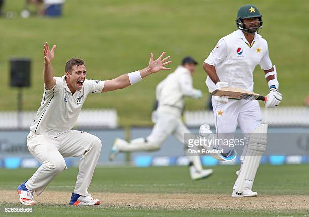 Tim Southee of New Zealand appeals during day five of the Second Test match between New Zealand and Pakistan at Seddon Park on November 29 2016 in...