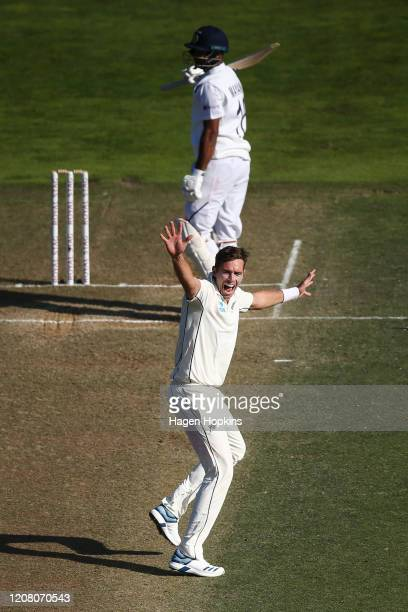 Tim Southee of New Zealand appeals successfully for the wicket of Mayank Agarwal of India during day three of the First Test match between New...