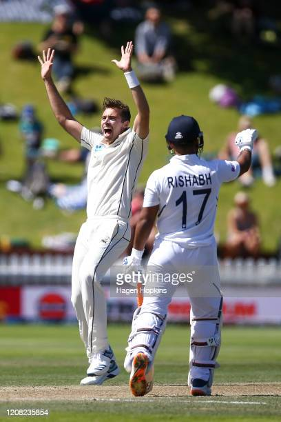 Tim Southee of New Zealand appeals successfully for the wicket of Ravichandran Ashwin of India during day four of the First Test match between New...